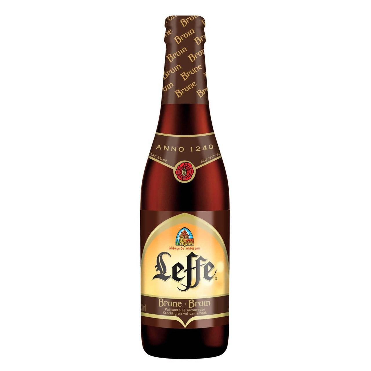 Delivery of beer Leffe Brune at night in Kiev